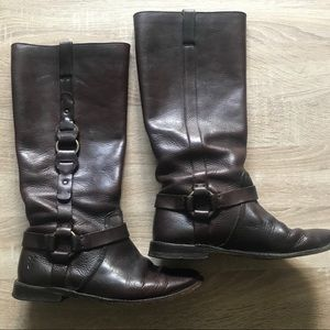 Frye leather harness Brown Riding Boots Slip On